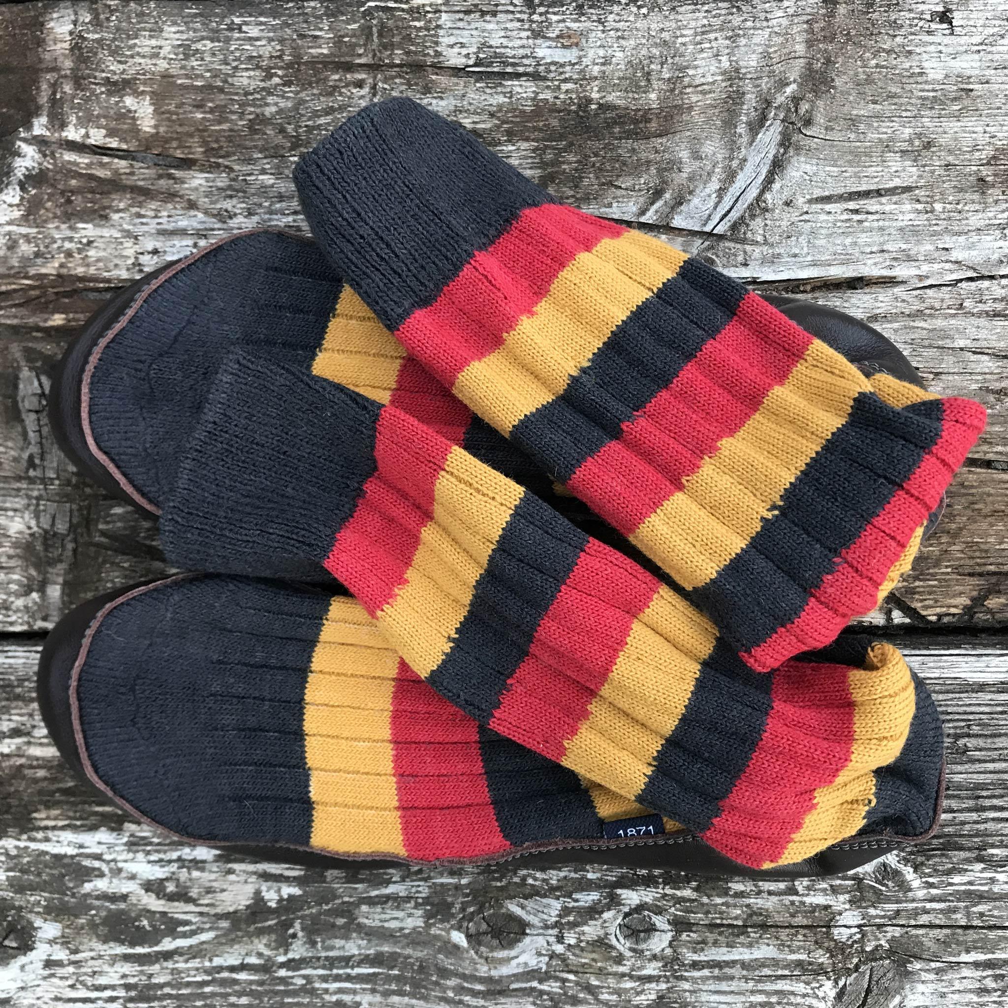 Slipper Sock black red and mustard stripe - overhead view