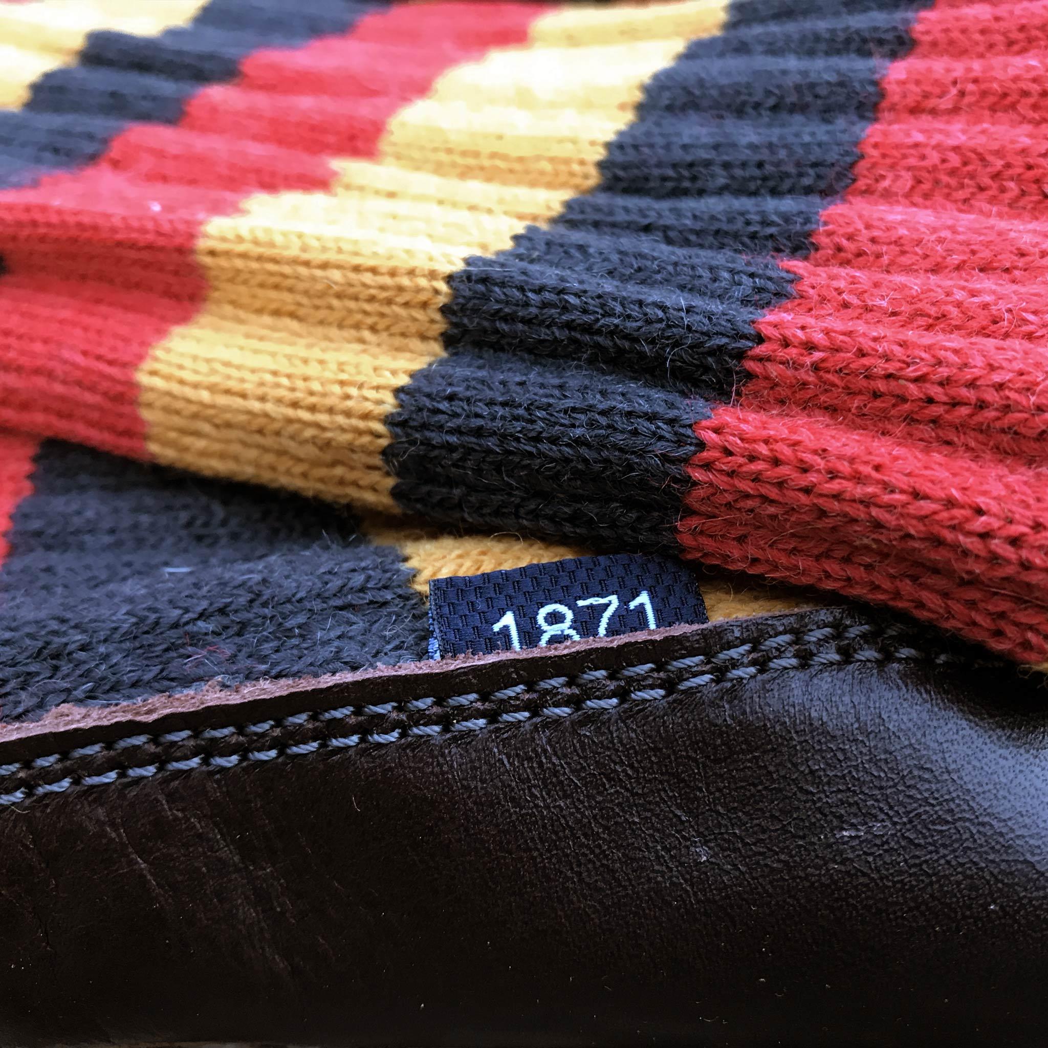 Slipper Sock black red and mustard stripe - closeup