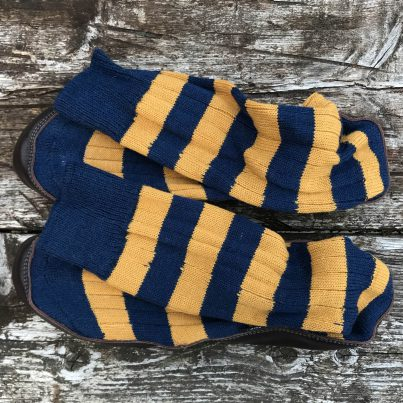 Slipper Sock Blue And Mustard Stripe - Overhead View