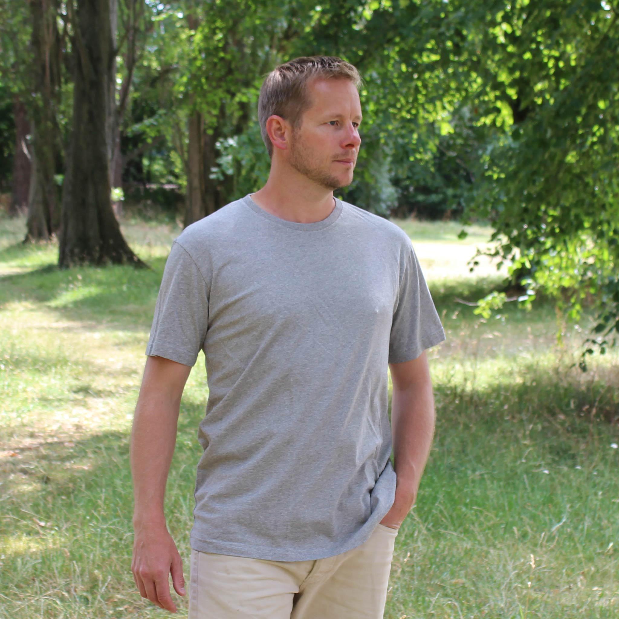 Plain Grey T-shirt model
