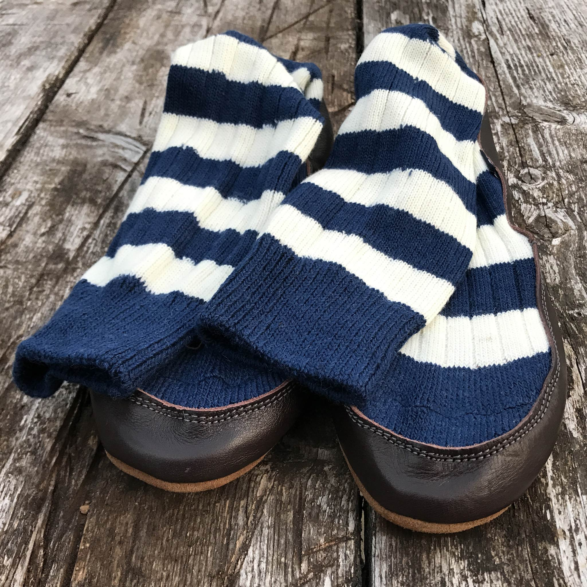 Slipper Sock blue and white stripe - front view