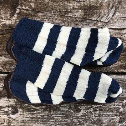 Slipper Sock Blue And White Stripe - Overhead View