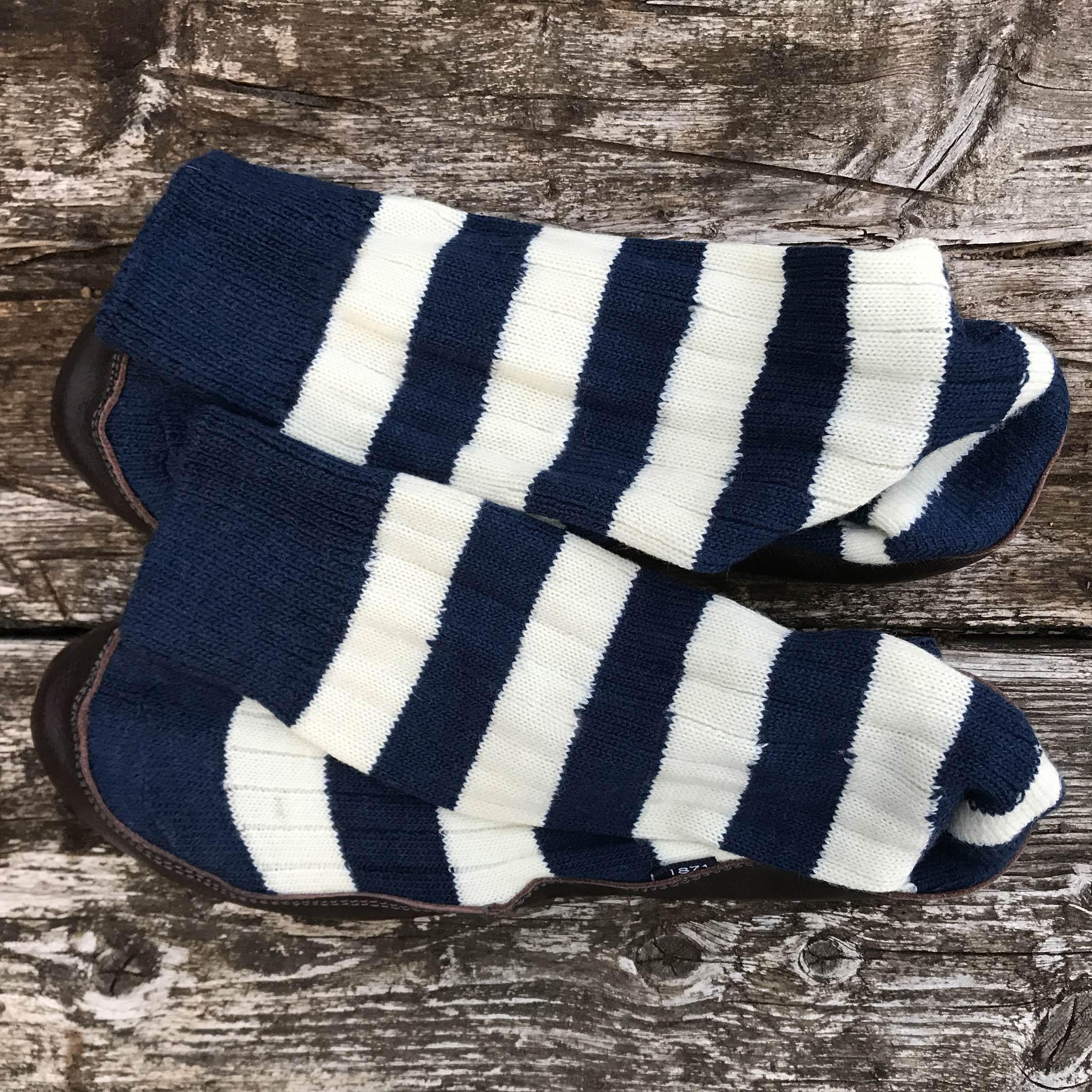 Slipper Sock blue and white stripe - overhead view