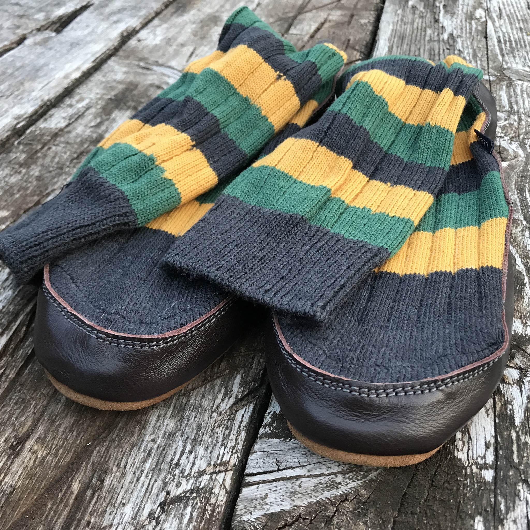 Slipper Sock black, green and mustard stripe - front view