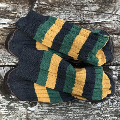 Slipper Sock Black, Green And Mustard Stripe - Overhead View
