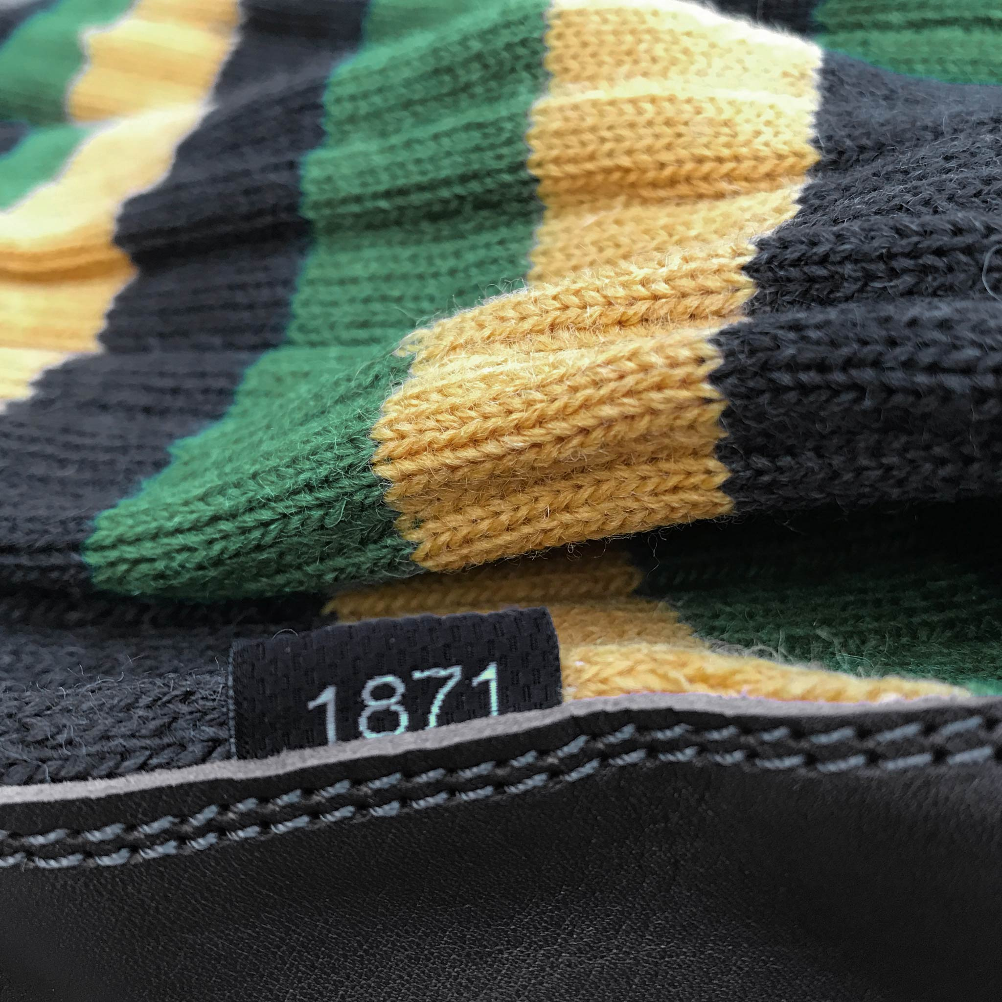 Slipper Sock black, green and mustard stripe close-up