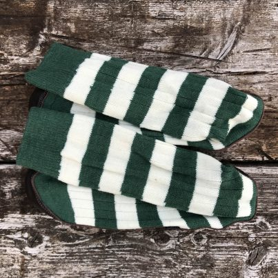 Slipper Sock Green And White Stripe - Overhead