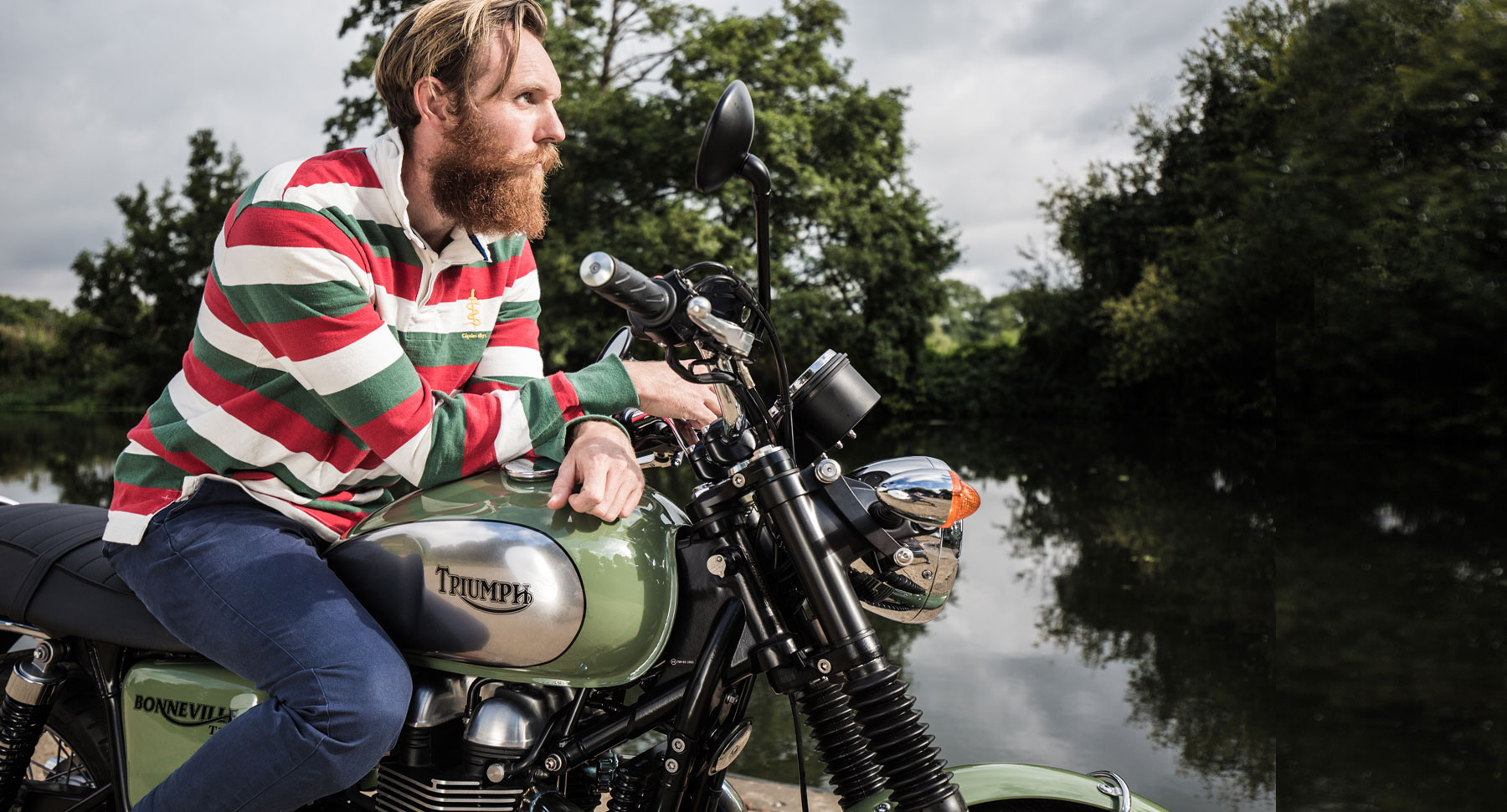 Rugby shirt and Triumph motorbike