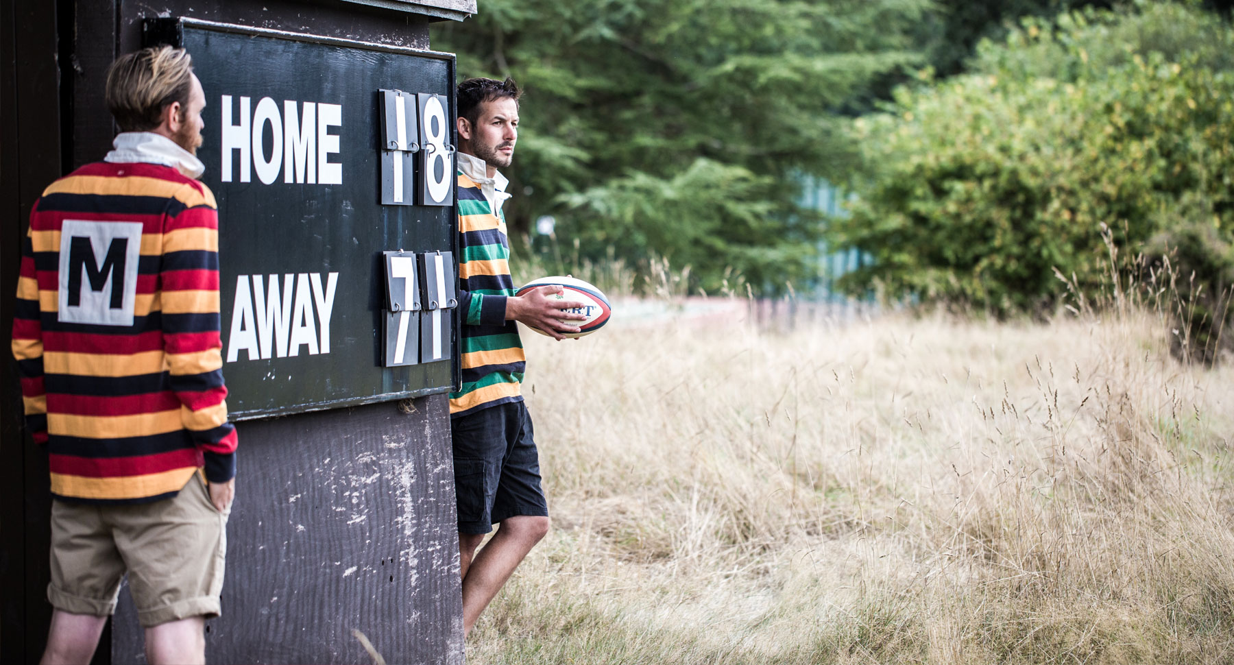 Rugby shirts by scoreboard