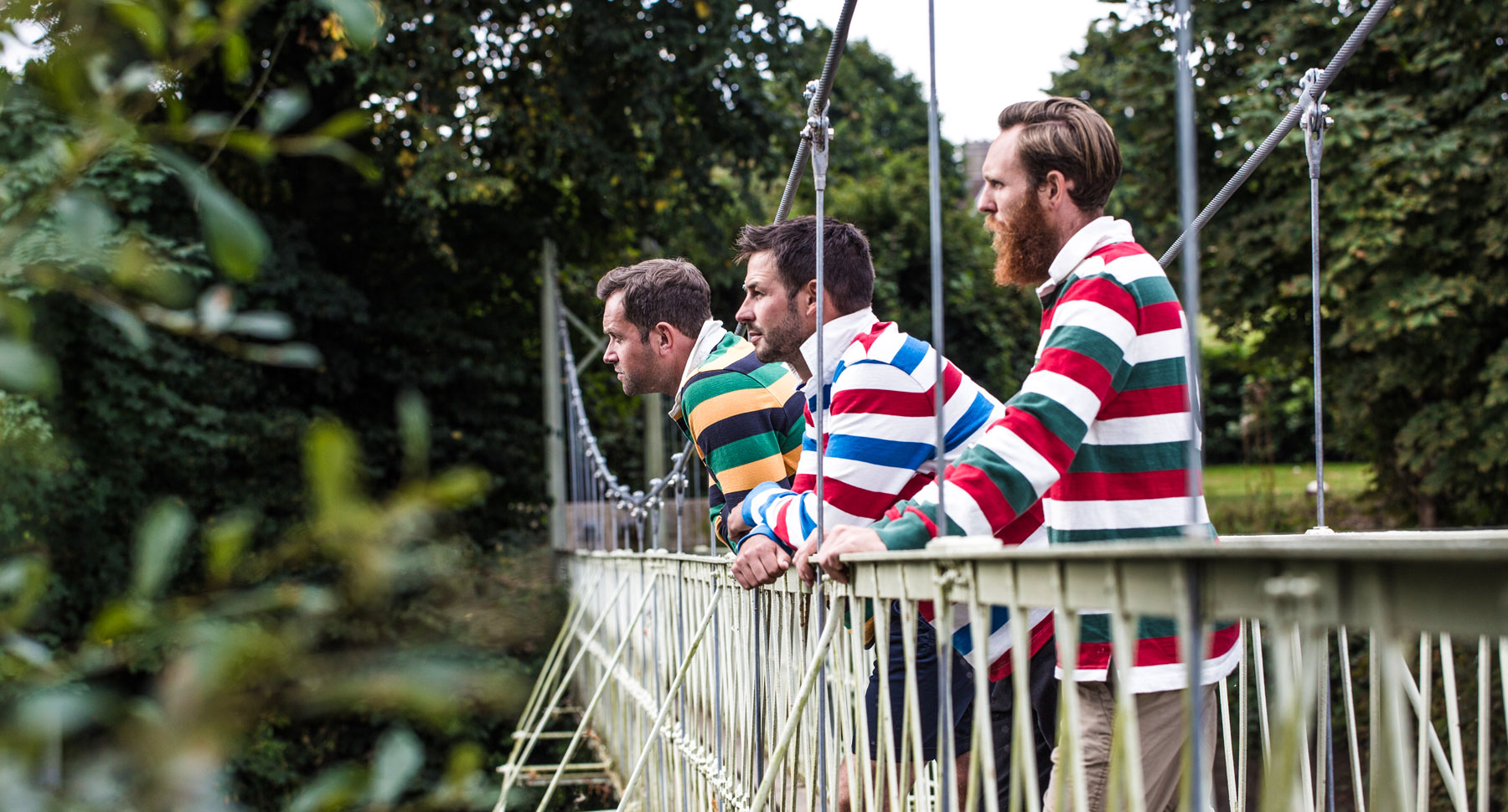 Rugby shirts on bridge over over Stour