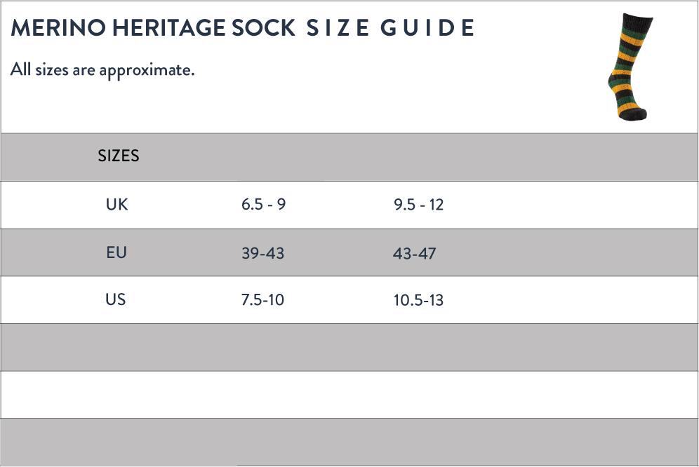 Merino Heritage Sock Size Guide