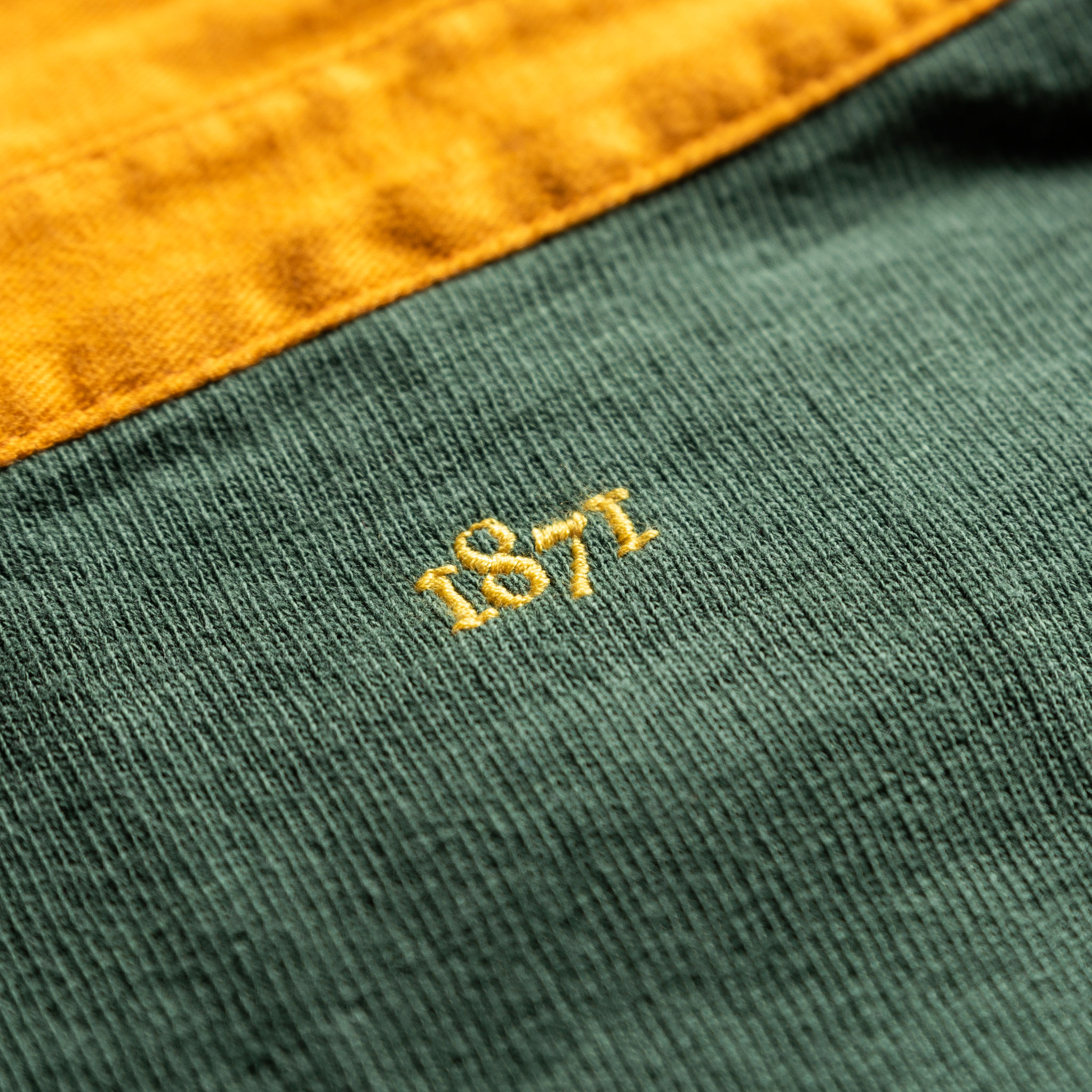 Classic Green with Yellow Collar 1871 Vintage Rugby Shirt_1871