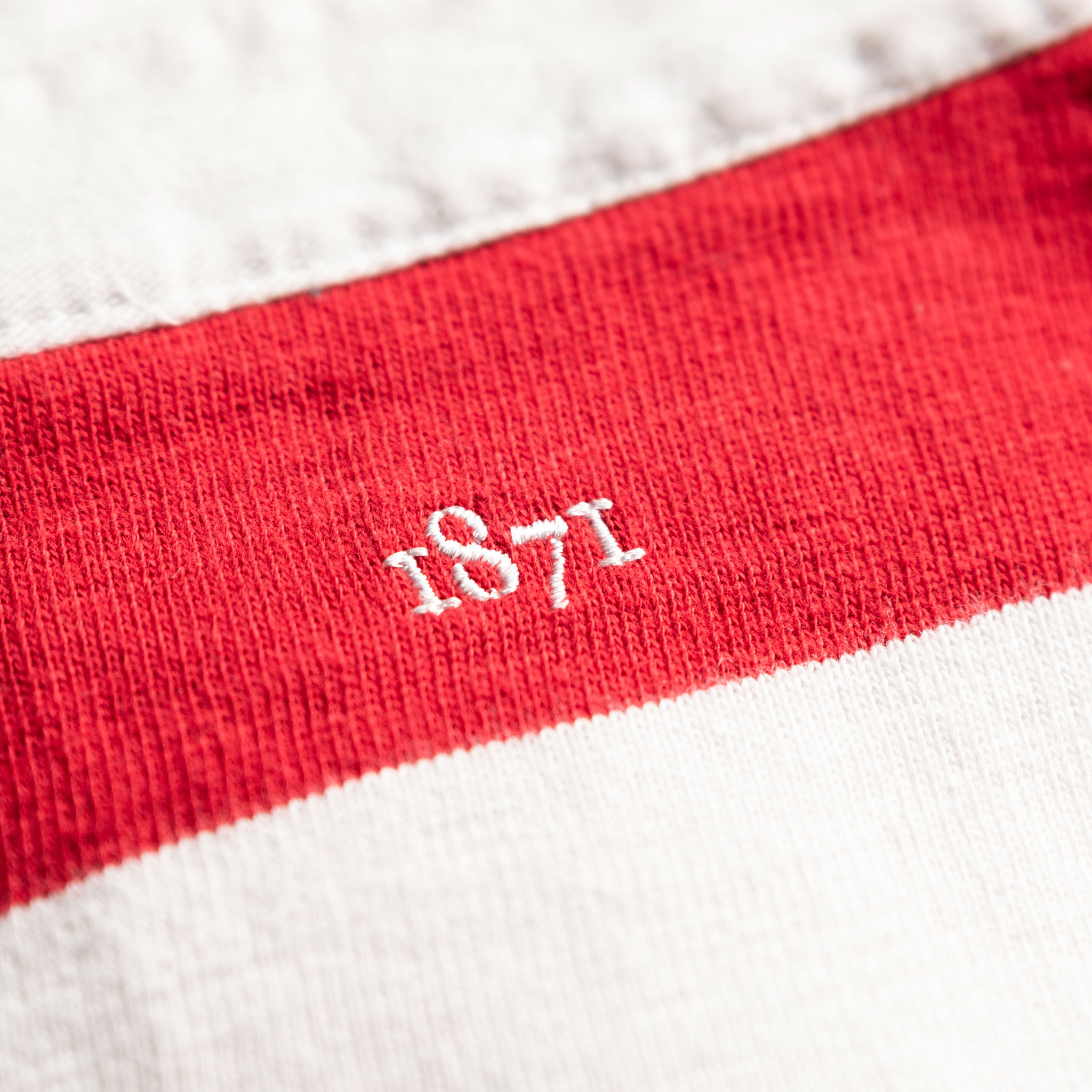 Classic Red and White 1871 Vintage Rugby Shirt_1871