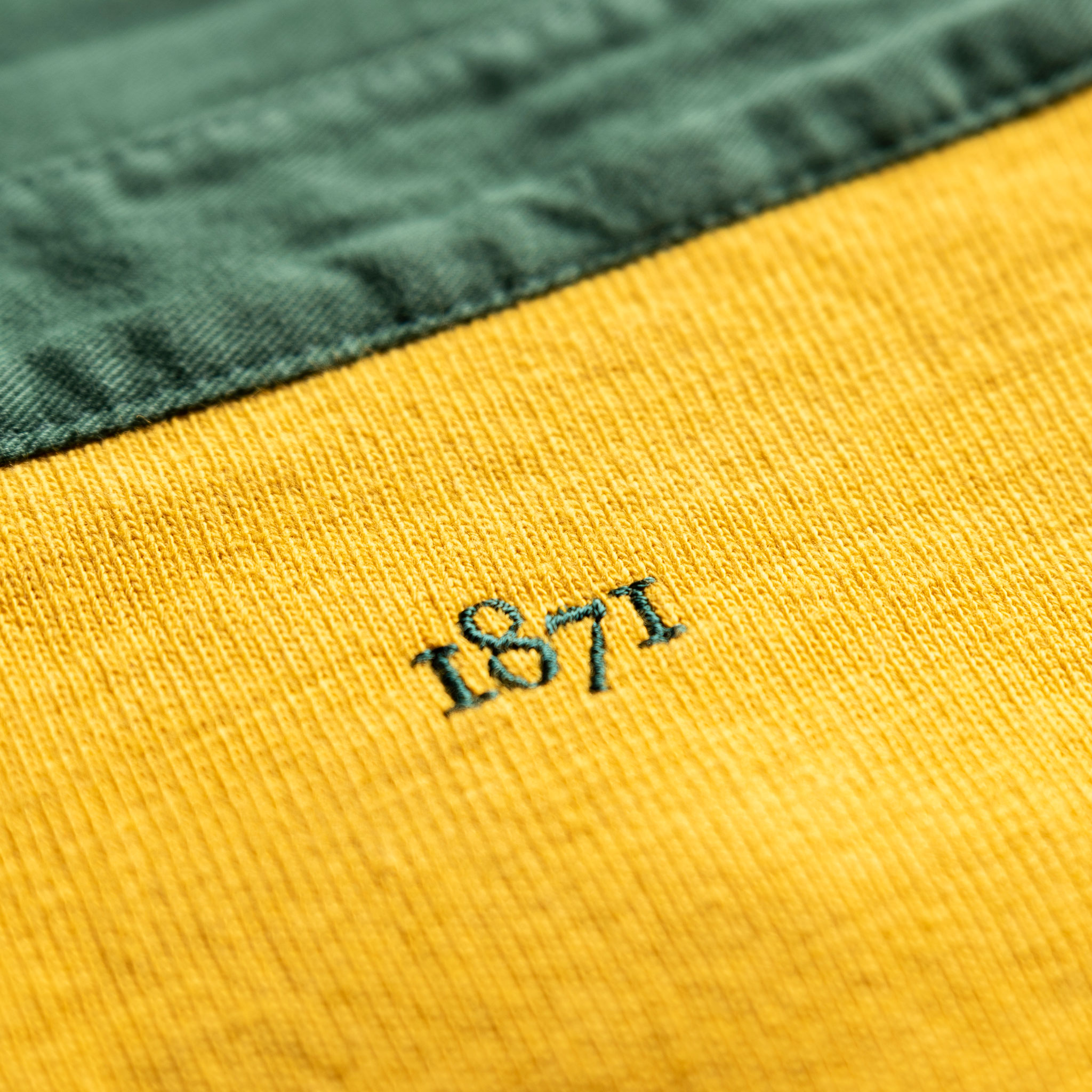 Classic Yellow with Green Collar 1871 Vintage Rugby Shirt_1871