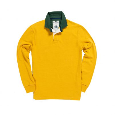 CLASSIC YELLOW WITH GREEN COLLAR 1871 RUGBY SHIRT
