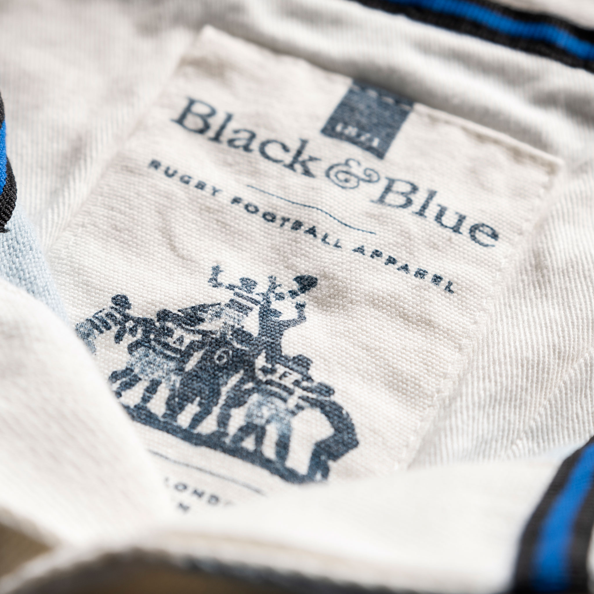 Classic Sky Blue and White 1871 Vintage Rugby Shirt_BB Label