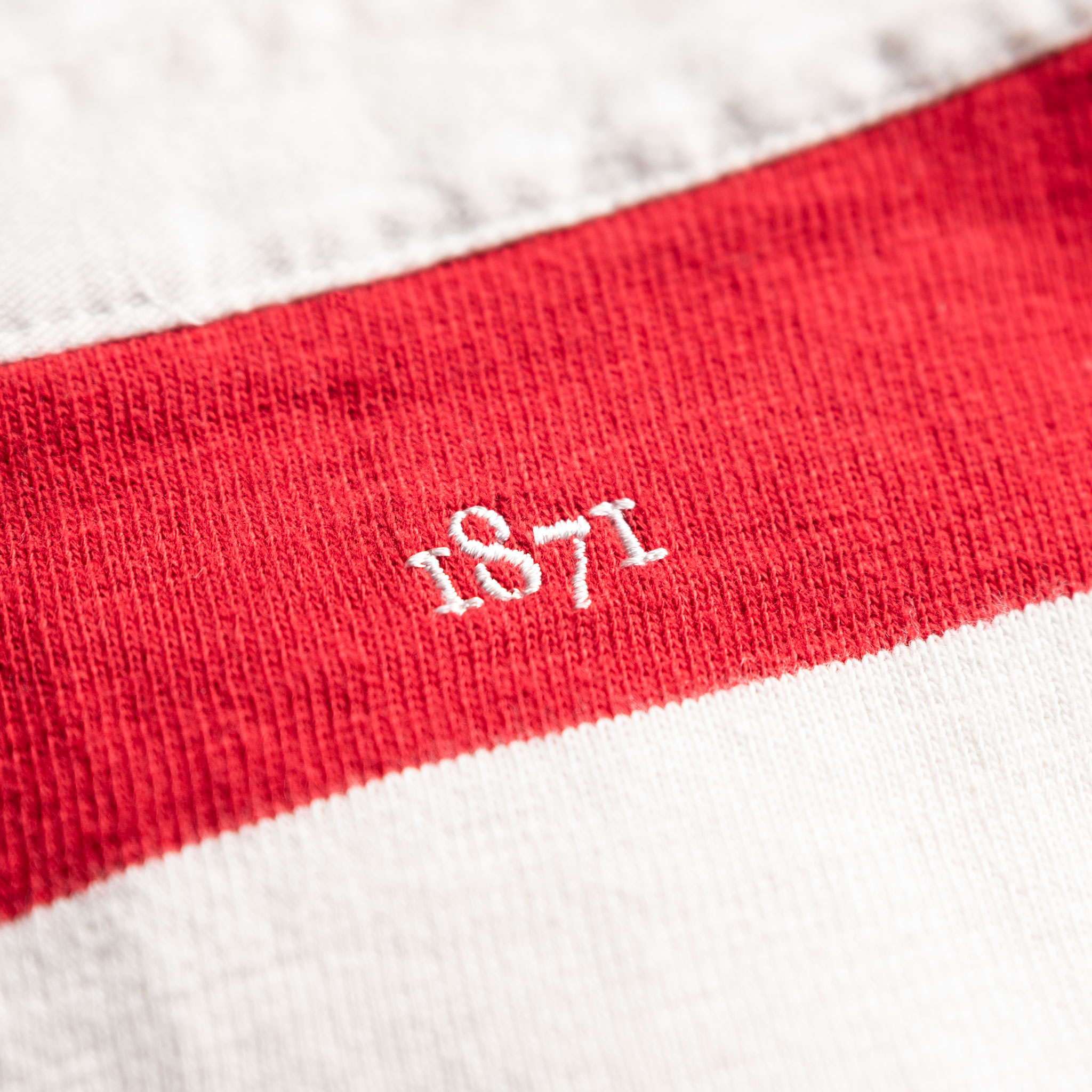 Women's Classic Red and White 1871 Vintage Rugby Shirt_1871