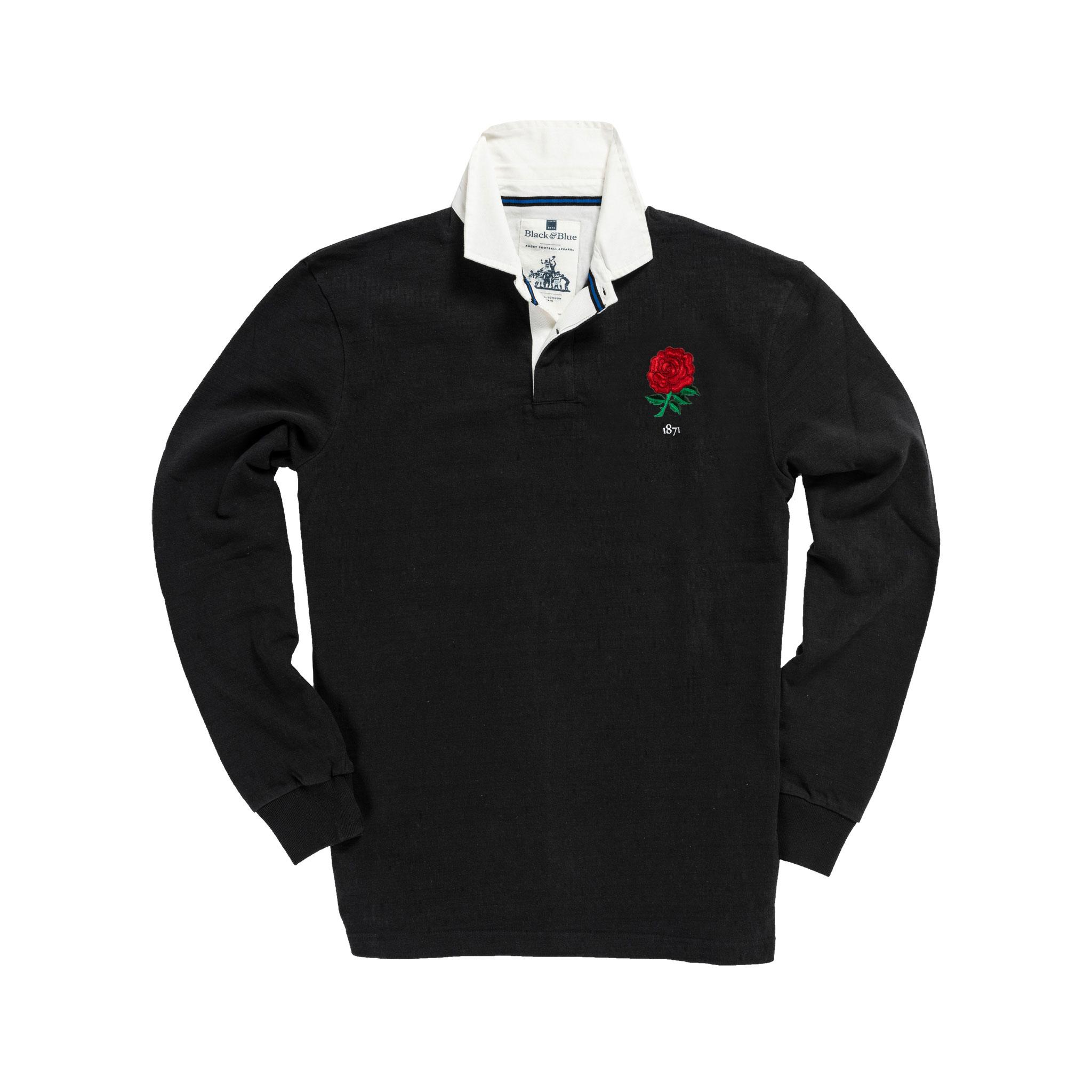 England 1871 Black Vintage Rugby Shirt