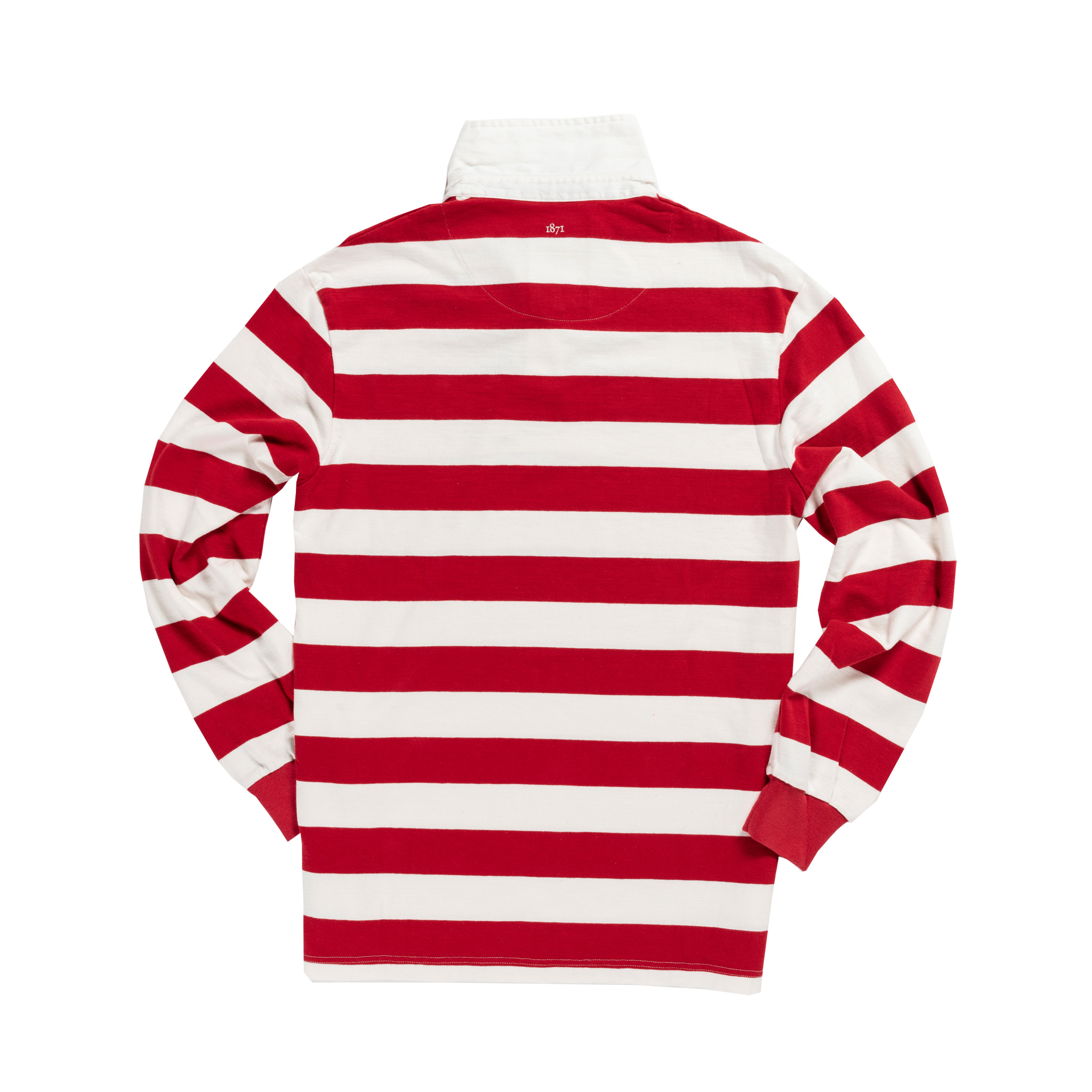 England 1871 Sky Red and White Vintage Rugby Shirt_Back