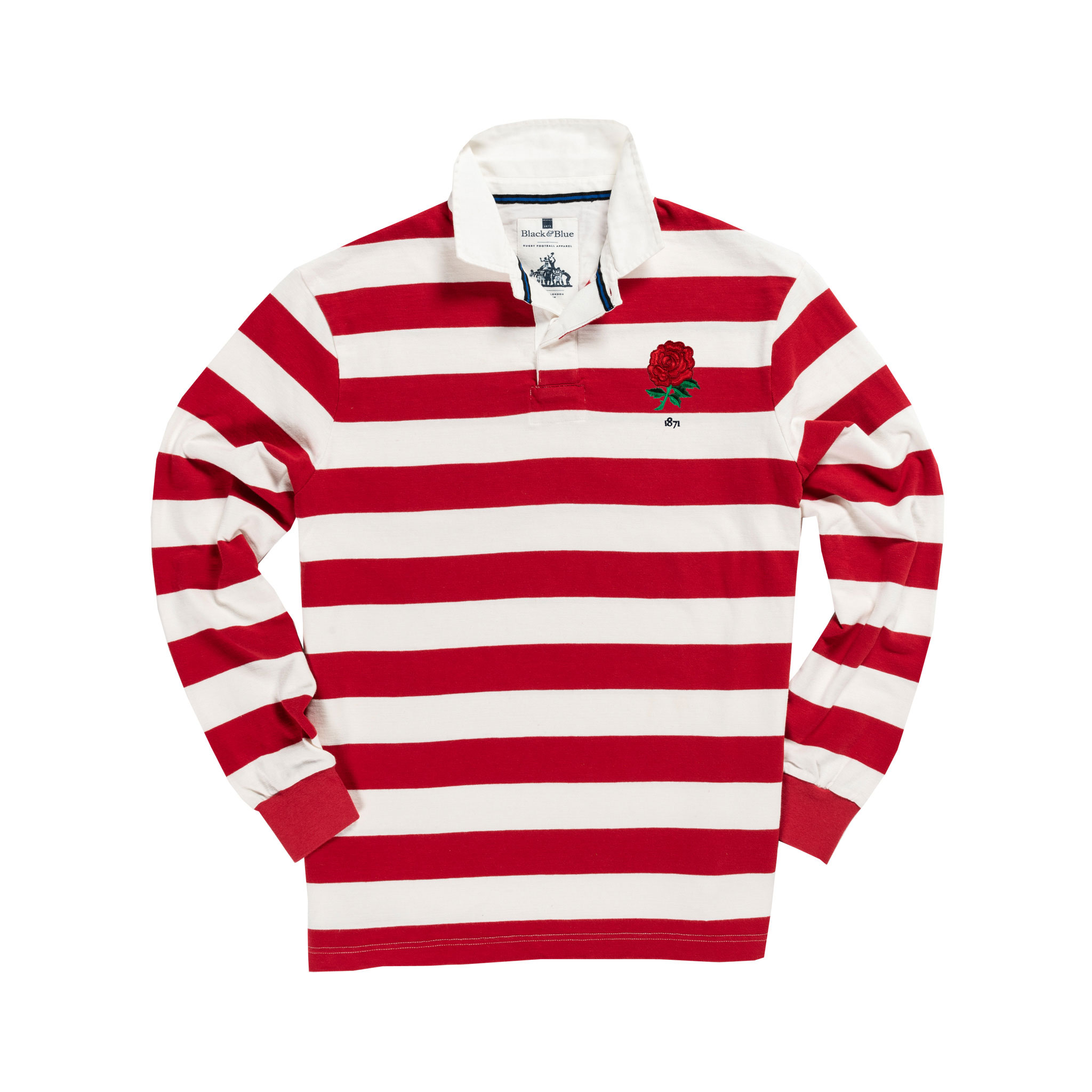 England 1871 Sky Red and White Vintage Rugby Shirt