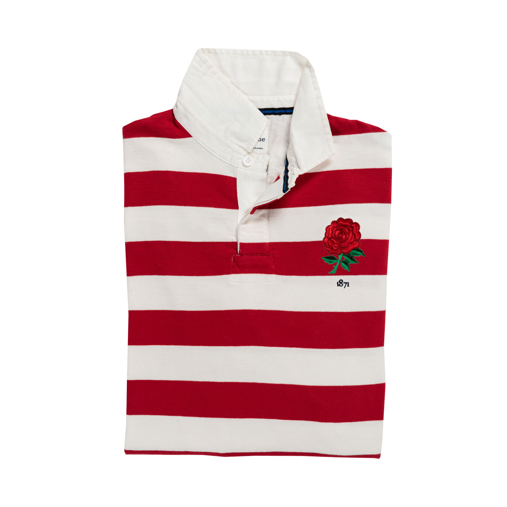 England 1871 Sky Red and White Vintage Rugby Shirt_Folded