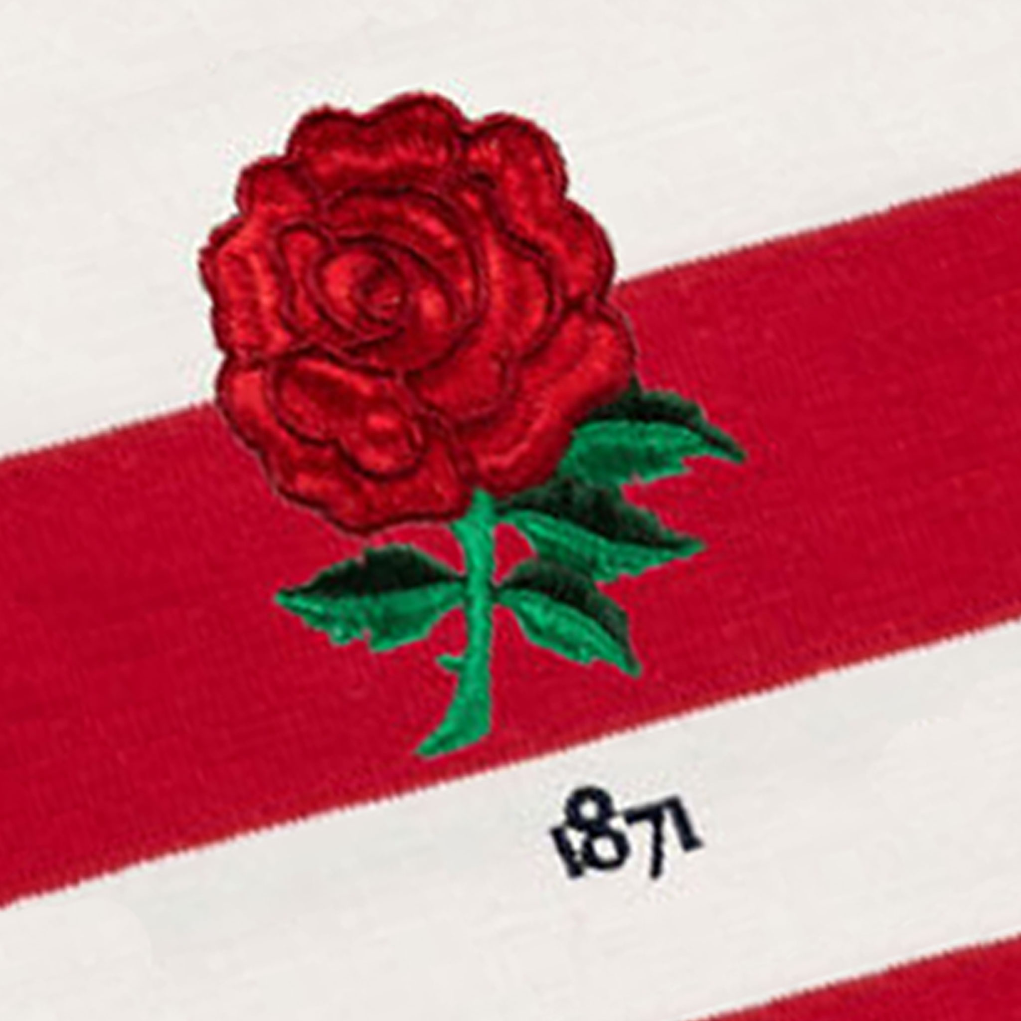 England 1871 Sky Red and White Vintage Rugby Shirt_Logo