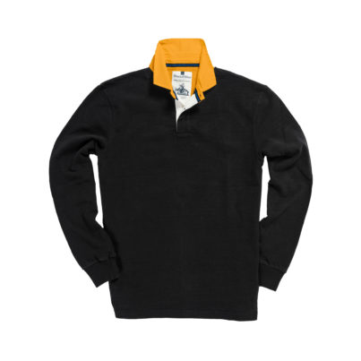 CLASSIC BLACK WITH GOLD COLLAR 1871 RUGBY SHIRT