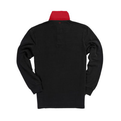 Classic Black 1871 Vintage Rugby Shirt With Red Collar_Back