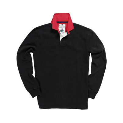 CLASSIC BLACK WITH RED COLLAR 1871 RUGBY SHIRT