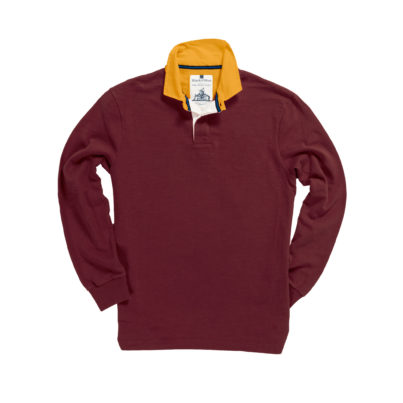 CLASSIC BURGUNDY WITH GOLD COLLAR 1871 RUGBY SHIRT