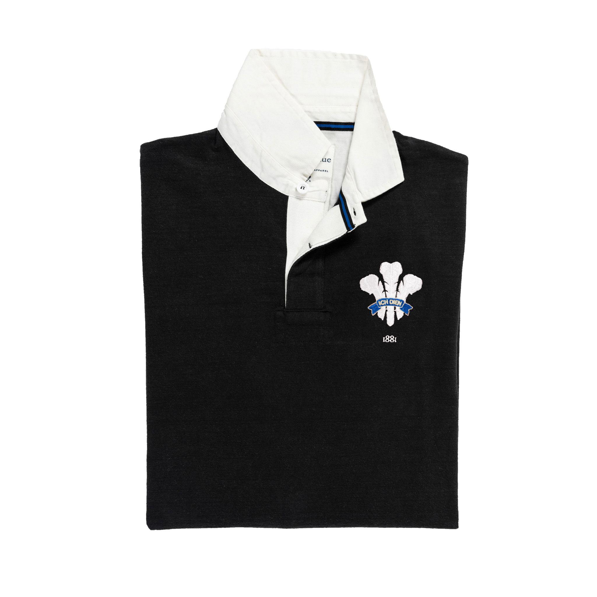 Wales 1881 Black Vintage Rugby Shirt_Folded
