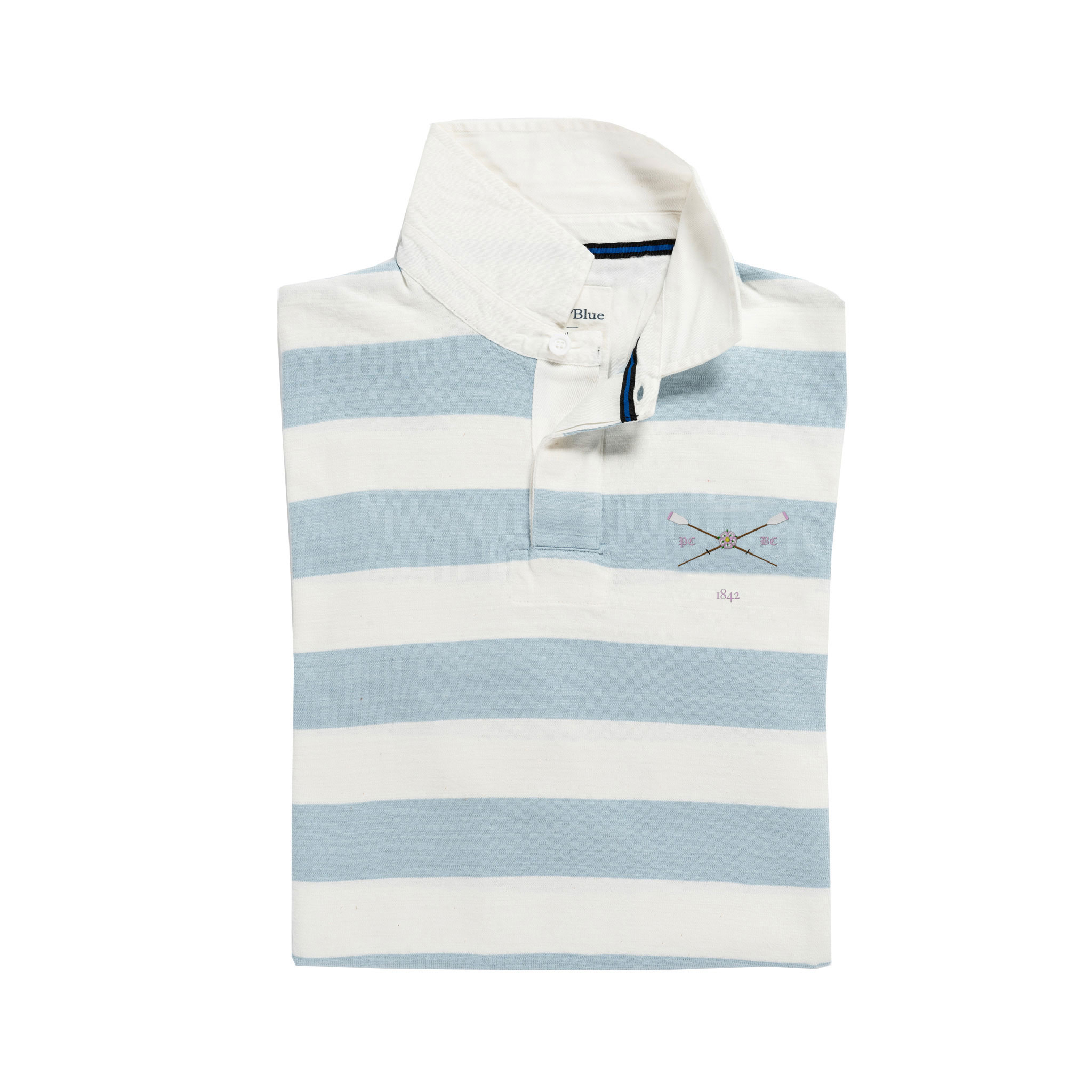 Pembroke 1842 Rugby Shirt Blue and White_Folded