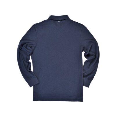 Navy Long Sleeve 1871 Polo Shirt_Back